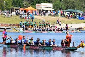 It was a battle royale on the water atPugneys Country Park this weekend teams of rowers took part in the annual charity Dragon Boat Race.Picture: Reyners Photography.