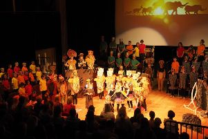 The St Mary and St Joseph Catholic Primary School pupils on stage at the Tom Stoppard Theatre.