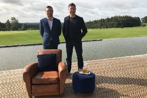 KP Resort general manager Daniel Littlewood with TV presenter George Clarke.