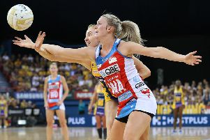 BRISBANE, AUSTRALIA - SEPTEMBER 15: Natalie Haythornthwaite of the Swifts competes with Madeline Mcauliffe of the Lightning during the Super Netball Grand Final match between the Sunshine Coast Lightning and the Sydney Swifts at Brisbane Entertainment Centre on September 15, 2019 in Brisbane, Australia. (Photo by Jono Searle/Getty Images)
