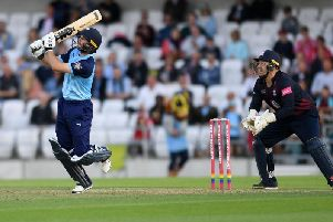 Adam Lyth hits a six for Yorkshire