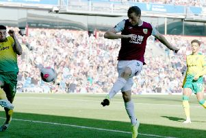 Chris Wood scores his and Burnleys second goal