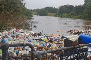 Days of heavy rain reveals the extent of plastic in the River Calder at Stanley Ferry, Wakefield. Local activist Paul Dainton says he has been fighting for a decade for someone to clean up the mess.