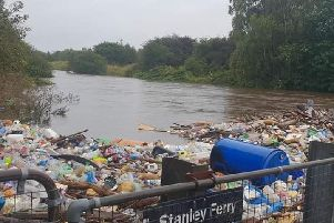 Thousands of pieces of plastic and litter have washed up in Stanley, after days of heavy rain caused the river to burst its banks.