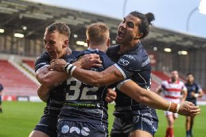 Ashton Golding celebrates during Rovers win at Leigh Centurions in the first round of the play-offs. PIC: Dec Hayes.