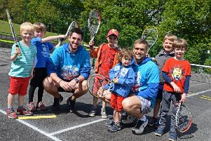 Lead coaches Ryan Bagshaw and Luis Sylvester, pictured with children who took part in the mini tennis red sessions at Bingham Park. Picture: Marie Caley NSST Tennis MC 1