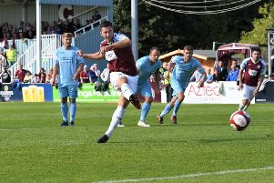 South Shields' Robert Briggs scores from the penalty spot. Picture by Kev Wilson.