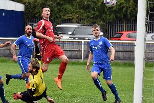 Ric Seear hits the woodwork  for Squires Gate at Hanley  Picture: ALBERT COOPER