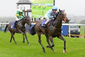 Detachment races clear on the run-in to record a victory at Pontefract. Picture: Alan Wright