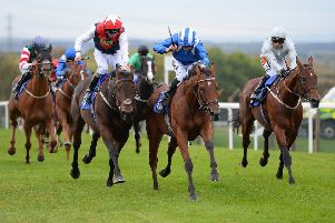 Nomoathaj gets ahead in a thrilling finish to give jockey Danny Tudhope his third winner at Pontefract's latest meeting. Picture: Alan Wright