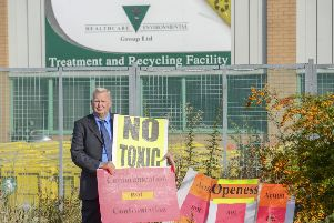 Paul Dainton, whose Residents Against Toxic Scheme (RATS) campaign group has battled on    environmental issues for 20 years, stands outside the HES plant.