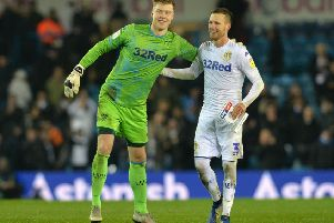 Bailey Peacock-Farrell and Barry Douglas show their delight at the end of Leeds United's win over Reading. Picture: Bruce Rollinson