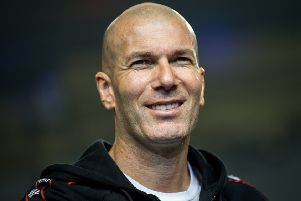 Former French football player Zinedine Zidane looks on during a promotional event for the Chinese University of Football Association in Guangzhou, in China's southern Guangdong province on November 30, 2018. (Photo by - / AFP) / China OUT        (Photo credit should read -/AFP/Getty Images)