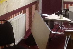 Damage caused in the Outwood Memorial Hall burglary. Contributed picture.