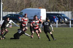 Hartlepool Rovers RFC (red/white/black) v Barnard Castle RFC (black) at The Friarage, Hartlepool, on Saturday.