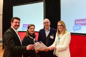 From left, Martin Todd of Heath Relationship Partnership, Jean Micheson of OnePlusOne, Prof Crispin Day and Marie Huscroft, a health visitor relationships navigator.