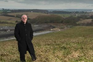 Coun David Dagger at the proposed site for the Glass Houghton link road in 2015 when he was Wakefield Councils cabinet member for highways and transport.