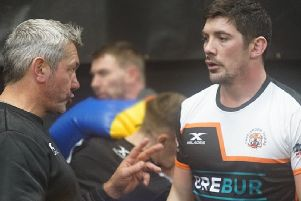 Chris Clarkson with Castleford Tigers head coach Daryl Powell.