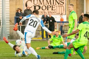Alfie Rutherford scores Havan'st second goal in  their 2-1 win over Halifax earlier this season. Picture: Keith Woodland