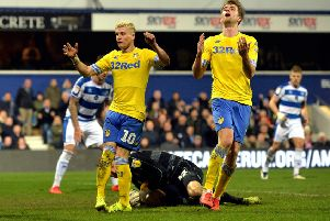 Ezgjan Alioski and Patrick Bamford rue a missed chance for Leeds United at Queens Park Rangers. Picture: Bruce Rollinson