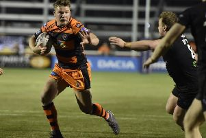 Adam Milner on the attack for Castleford Tigers against London Broncos. Picture: Matthew Merrick