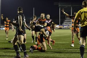 Liam Watts goes over for his first try in Castleford Tigers colours when they played London Broncos. Picture: Matthew Merrick