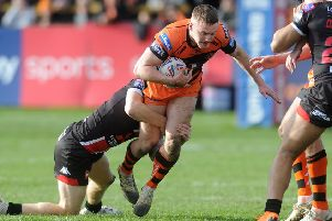 Castleford Tigers' Jake Trueman against Salford Red Devils.
