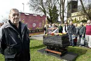 Bill Heszelgrave at the unveiling of a pit tub full of primroses in memory of the long-gone Primrose Pit at Swillington. Picture by Steve Riding.