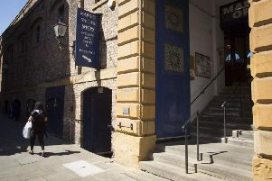 The entrance to the Market Vaults in Scarborough.