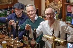 Master brewers: Ian, Tim and Gary in their new pub.