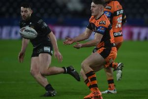 Jake Trueman in action for Castleford Tigers at Hull this season.
