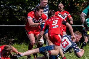Harry McAllister touches down for his first try for Featherstone Lions against Cutsyke. Picture: Jonathan Buck