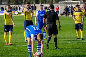 Vaughan Redford, scored from the penalty spot for Pontefract Collieries against Ossett United. Picture: James Heaton