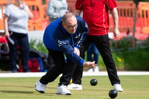 Actions from the National League Bowls, Halifax v Dudley, at Mytholmroyd BC. Pictured is Mark Holden