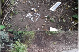 The needles were found on the public footpath near the city centre.
