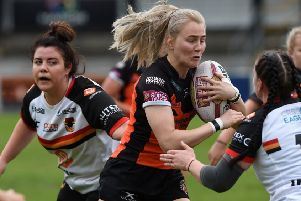Tara Stanley, who scored two tries for Castleford Tigers Women against St Helens.