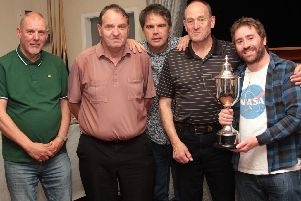Olde Taverners - Knockout Cup Winners 2018-19 - L-R Steve Whitham, Alan Smith, Steve Cooke presenting, Nick Clapham and Michael Steer.