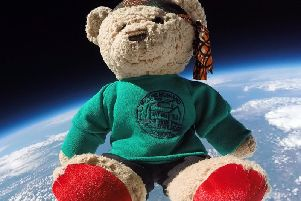 Howard, the mascot of Ackworth Howard School, Pontefract, was even gifted a specially-made school uniform to keep him warm as he rose through the Earths atmosphere.