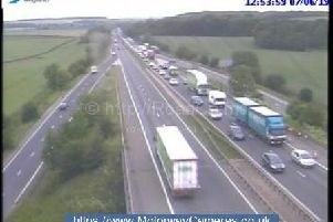 Motorists are being warned to expect delays of up to an hour following a collision on the A1(M) this afternoon. Picture: motorwaycameras.co.uk