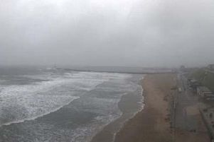The webcam over Sunderland seafront, operated by Sunderland City Council, shows the wet weather hitting the North East coastline.