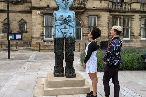 The sculpture, known as Receiver, was created by Huma Bhabha, and is the artist's first installation in the UK.