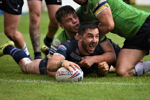 Tom Holmes in try scoring form this season for Featherstone Rovers. Picture: Dec Hayes