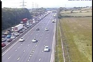 More than a mile of traffic has built up on the M1 close to Wakefield this morning. Picture: Highways England.