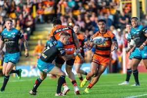 Peter Mata'utia in action for Castleford Tigers against Leeds Rhinos. Picture: James Heaton