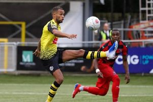 Warren Burrell on his way to scoring Harrogate Town's second goal against Darlington. Picture: Matt Kirkham