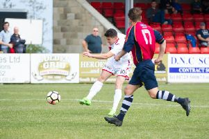 Michael Coulson opens the scoring for Scarborough Athletic against the Saturday League Rep side''PHOTO BY ANDY STANDING