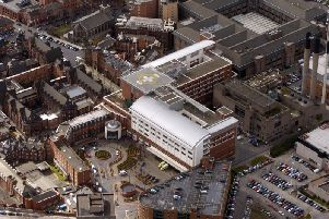 Aerials of Leeds and surrounding areas, pictured a view looking down over Leeds City Centre, over Leeds General Infirmary showing the Air Ambulance landing pad. James Hardisty