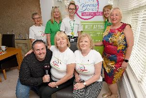 Live From Your Drive breast cancer event. Clockwise from top left are Pam Woodcock, Helen Bright, Lucy Mitchell, Julie Sumners, mayoress of Wyre Andrea Kay, Sharon Norton, Yvonne McConnell and Shep from Radio Wave.