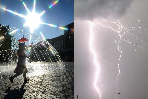 A yellow thunderstorm warning has been issued for Wakefield, as temperatures begin to fall.