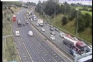 A collision has blocked three lanes of the M62 this afternoon. Picture: Highways England.